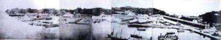 Yokosuka shipyard underconstruction ca. 1870 (public domain photo via Wikimedia commons)
