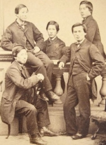 The Choshu Five in London, with Masaru Inoue at center (Public domain photo via Wikimedia Commons)